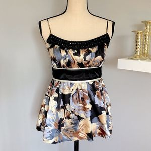 Grass Collections Floral Print Spaghetti Strap Top